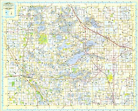 image regarding Printable Maps of Minnesota called County Street Map Otter Tail County, MN