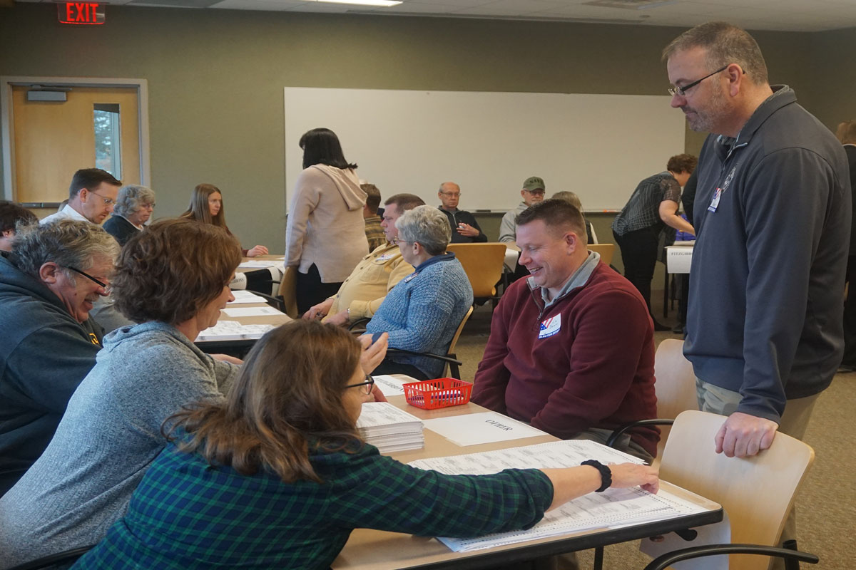 Auditor Wayne Stein conducts the recount of the Otter Tail County Sheriff's Office race