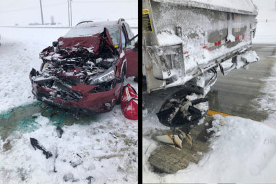 Photos attached show the aftermath of a crash involving a vehicle and state snowplow. This crash occurred today, March 1, 2019, on I-94 near Brandon